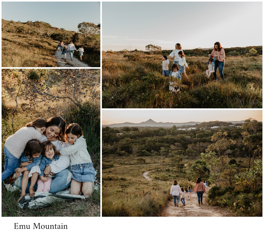 Emu mountain family photo session. Family are dressed in white