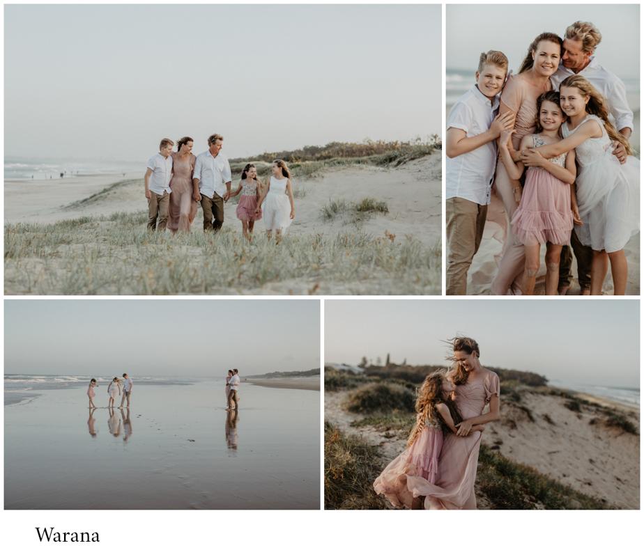Warana beach family photo in pastals