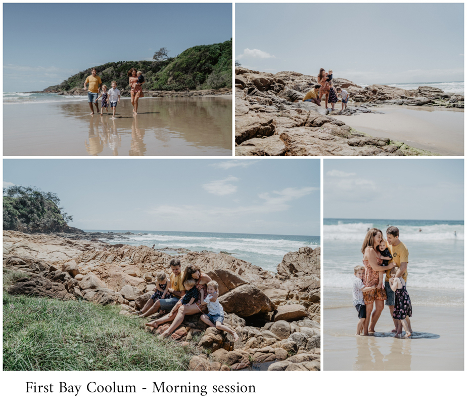 first bay family photoshoot in the morning in Coolum