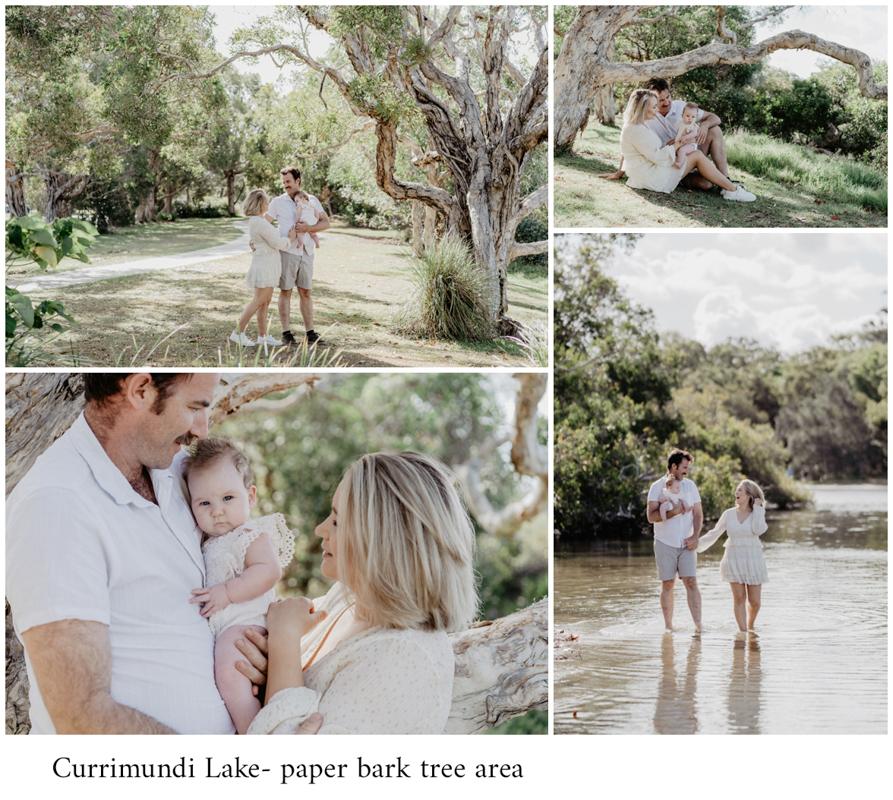 Currimundi Lake sunshine coast photo shoot with family family dressed in white